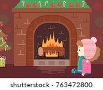 illustration of a kid girl in... | Shutterstock .eps vector #763472800