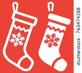 christmas stocking line and... | Shutterstock .eps vector #763474288