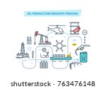oil development thin line icons.... | Shutterstock .eps vector #763476148
