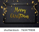 merry christmas hand drawn gold ... | Shutterstock .eps vector #763479808