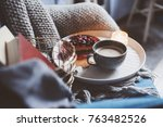 cozy winter weekend at home.... | Shutterstock . vector #763482526