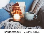 cozy winter weekend at home.... | Shutterstock . vector #763484368