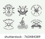 vintage baseball sport logos ... | Shutterstock .eps vector #763484389
