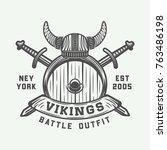 vintage vikings motivational... | Shutterstock .eps vector #763486198