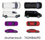 set of black and white minibus  ... | Shutterstock .eps vector #763486690