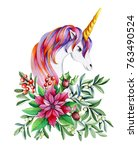 unicorn in flowers. watercolor... | Shutterstock . vector #763490524