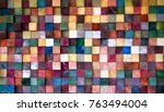 colorful wood block stack on... | Shutterstock . vector #763494004