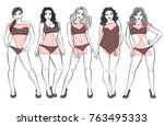 types of female bodies. five... | Shutterstock .eps vector #763495333