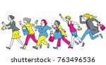 full length character of women... | Shutterstock .eps vector #763496536