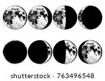 moon phases planets in solar... | Shutterstock .eps vector #763496548