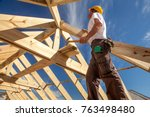 worker roofer builder working... | Shutterstock . vector #763498480