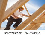 worker roofer builder working... | Shutterstock . vector #763498486