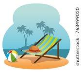 wooden beach chair on a beach... | Shutterstock .eps vector #763499020