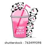 happy cute pandas drink fruit... | Shutterstock .eps vector #763499398