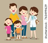 cute family visiting the doctor.... | Shutterstock .eps vector #763499629