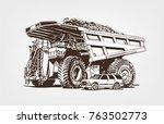 big car. large industrial... | Shutterstock .eps vector #763502773