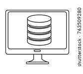 monitor computer with data disk   Shutterstock .eps vector #763509280