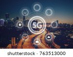 5g network wireless systems and ... | Shutterstock . vector #763513000