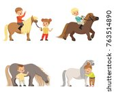 funny little kids riding ponies ... | Shutterstock .eps vector #763514890