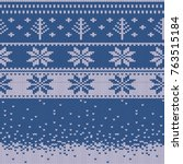 knitted christmas sweater... | Shutterstock .eps vector #763515184