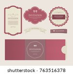 set of vintage labels old... | Shutterstock .eps vector #763516378