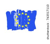 european flag painted by hand.... | Shutterstock .eps vector #763517110