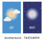 day and night. sun and moon.... | Shutterstock .eps vector #763518094