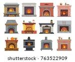 fireplace vector house...   Shutterstock .eps vector #763522909