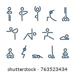 simple stylized yoga poses icon ... | Shutterstock .eps vector #763523434
