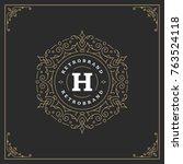 ornament monogram logo design...   Shutterstock .eps vector #763524118