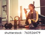 woman exercise workout in gym... | Shutterstock . vector #763526479