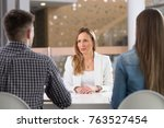 job interview.young serious... | Shutterstock . vector #763527454