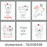 set of hand drawn winter... | Shutterstock .eps vector #763530538