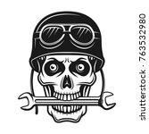 biker skull in helmet with... | Shutterstock .eps vector #763532980