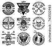 motorcycles set of nine vector... | Shutterstock .eps vector #763532983