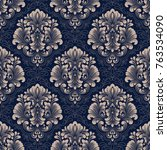 vector damask seamless pattern... | Shutterstock .eps vector #763534090
