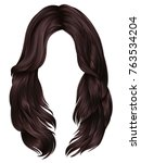 trendy woman long hairs ... | Shutterstock .eps vector #763534204