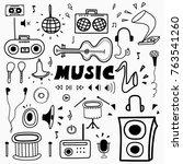 hand drawn doodle music set....   Shutterstock .eps vector #763541260