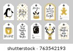 christmas gift tags set  hand... | Shutterstock .eps vector #763542193