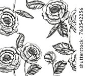 floral vector roses pattern... | Shutterstock .eps vector #763542256