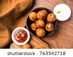 fried potato cheese balls or... | Shutterstock . vector #763542718