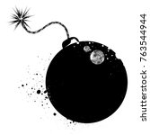 bomb silhouette with grunge...   Shutterstock .eps vector #763544944
