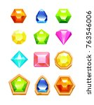 gem match 3 game icon set | Shutterstock .eps vector #763546006