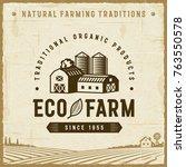 vintage eco farm label | Shutterstock . vector #763550578