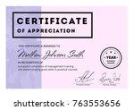 certificate of appreciation... | Shutterstock .eps vector #763553656