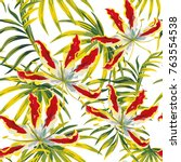 tropical leaves and exotic... | Shutterstock .eps vector #763554538