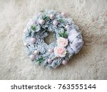 the christmas wreath   Shutterstock . vector #763555144