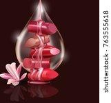 female luxury. broken lipstick... | Shutterstock .eps vector #763555618