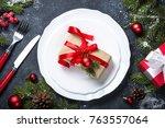 christmas table setting  white... | Shutterstock . vector #763557064