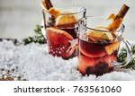 two glasses of traditional... | Shutterstock . vector #763561060
